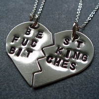 Best F&amp;cking Bitches Necklace - Best F%cking Friends - BFF Split Heart Necklaces -  Mature