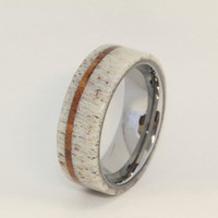 Deer Antler Ring with Oak Pinstripe and Titanium Sleeve