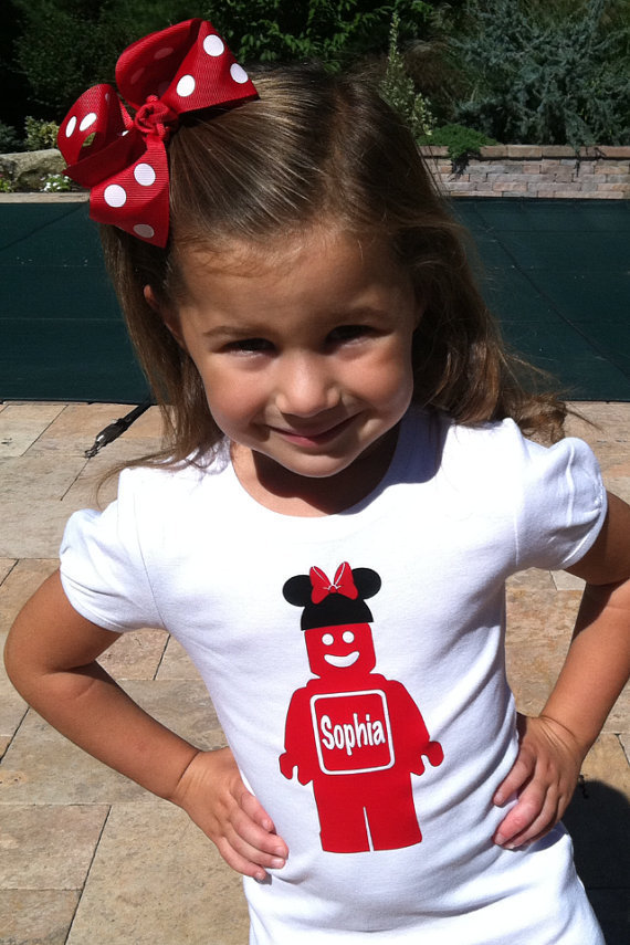 Personalized Lego Girl with Minnie Bow Vinyl by BabyLoveChunk