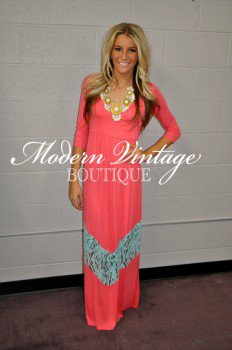 Sleeve coral and blue lace maxi dress from modern vintage
