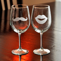 His & Her Mustache Lips Wine Glasses