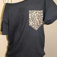 Frocket Pocket Off-the-Shoulder Shirt Chevron Cheetah
