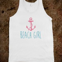 Nautical Beach Girl with Anchor - joleedesigns - Skreened T-shirts, Organic Shirts, Hoodies, Kids Tees, Baby One-Pieces and Tote Bags