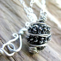 Twisted Silver Wire Wrapped Pendant Necklace, Hand Crafted, Oxidized