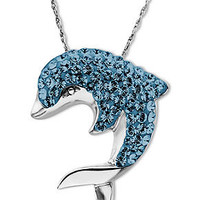 Kaleidoscope Sterling Silver Necklace, Crystal Dolphin Pendant with Swarovski Elements - SALE & CLEARANCE - Jewelry & Watches - Macy's