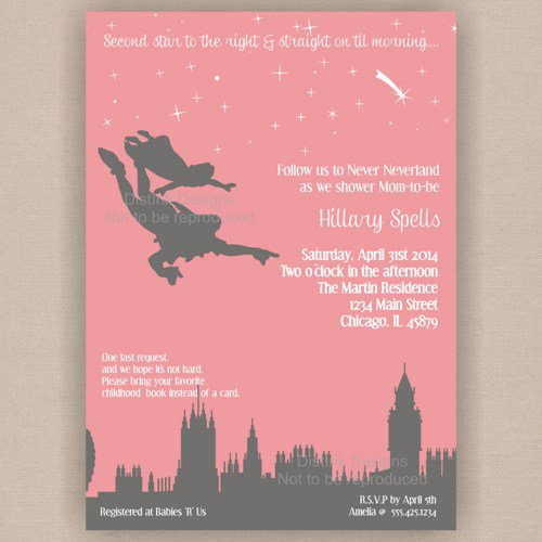 peter pan baby shower invitation never from distinkdesignsartfire
