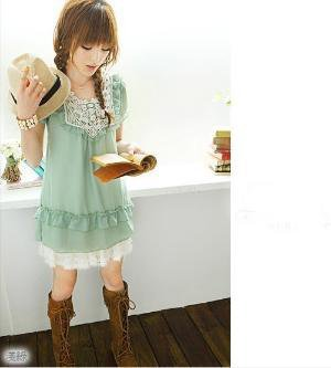 Lovely round neck short sleeve chiffon dress 3 color by Jordan58