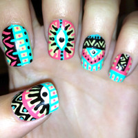 Pastel Tribal/Aztec eye nails