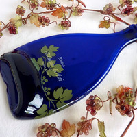 Slumped Blue Moscato d&#x27;Asti Wine Bottle Cheese Plate by bprdesigns