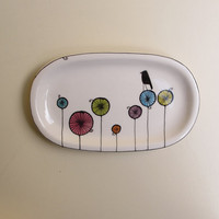 Ceramic colorful black bird tray for her spring by catherinereece