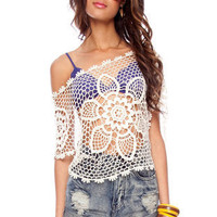Daffodil Crochet Top in Off White :: tobi