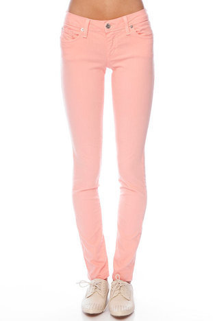 Solid Skinny Jeans in Salmon Pink :: tobi