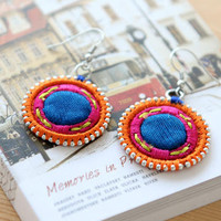 Embroidered Drop Earrings – Earrings | yeswalker | Free worldwide shipping on every order