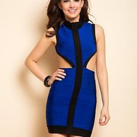 Backless contrast  cut-out body con bandage dress