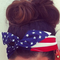 American Flag Dolly Bow Headband EXCLUSIVE by Eindre on Etsy