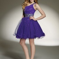 Buy Tulle One-Shoulder Strap Neckline with Delicate Beading Accents 2012 Short Ball Gown Cocktail Dress