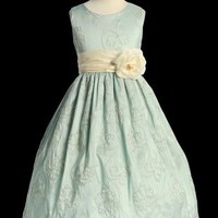 Special Offer Tiffany Blue Alencon Embroidered Taffeta Dresses