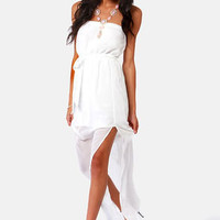 Mermaid in Heaven Strapless White Maxi Dress
