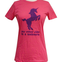 Unicorn TShirt   My Other Ride is a UNICORN Print by theboldbanana