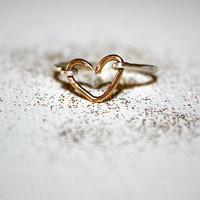 aurum - gold heart ring by lilla stjarna - gifts under 50 - 14k gold heart ring - knuckle ring, gift ring, everyday jewelry, gold wire heart