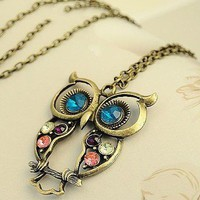 Retro rhinestones Owl necklace