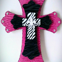 Handmade Decorative Pink/Zebra/Bling Wall by MadeWithLoveByLori