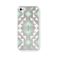 Mint Geometric iPhone 4 Case - Plastic iPhone 4s Case - Wood Tribal Southwest iPhone Case Skin - Mint Green Brown White Cell Phone For Him