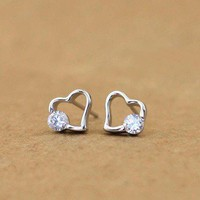accessoryinlove — 925 Sterling Silver Rhinestone Heart Earrings