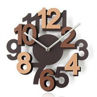 accessoryinlove  Eco-friendly 3D Hollow Numeral Wooden Wall Clock