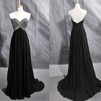 2013 Strapless Sweetheart Chiffon Prom Evening Dresses