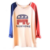 Elephant USA Flag Loose Baseball Tshirt For Women from FUNKISS