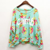 Vintage Spring Flower Climb Letter T-shirt from FUNKISS
