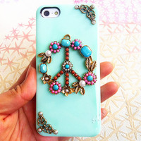 Handmade  Peace Sign  Candy Color Case For iPhone4/4s,iPhone5