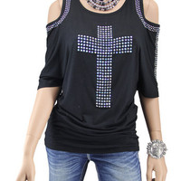Vocal Ladies Black Cold Shoulder Knit Top With Cross