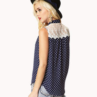 Lace-Paneled Polka Dot Shirt | FOREVER 21 - 2041152054