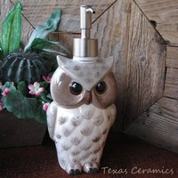 Tall Owl Soap or Lotion Pump Dispenser Taupe with Stainless Steel Pump