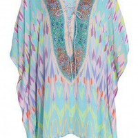 Boutique 1 - CAMILLA - Multi Short Lace Up Dove Kaftan | Boutique1.com
