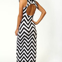 Jenny Monochrome Printed Open Back Maxi Dress