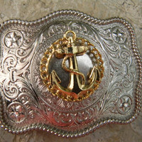 Rhinestone Vintage Gold Anchor Belt Buckle Silver Western Mens Womens Engraved Ships Anchor Buckle
