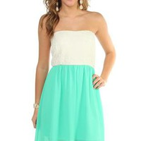 strapless day dress with lace bodice and chiffon high low hem - 400003599950 - debshops.com