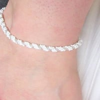 White and Silver Anklet, Beaded Anklet, Beaded Ankle Bracelet, Anklet, Ankle Bracelet, Wedding, Bridal