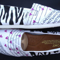 The Dani  Black and White Zebra Custom TOMS by FruitfulFeet