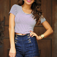 Cutest Sailor Around Crop Top: Black/White | Hope's