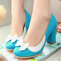 Ladies Elegant Bow Tie Colored Block High Heel Pumps Court Shoes Plus Size #916