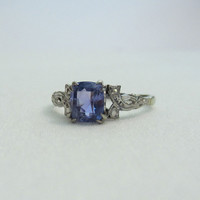 Vintage Tanzanite Engagement Ring. Lovely Ribbon Design, Circa 1940s.