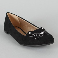 Qupid Salya-637 Embroidered Kitty Face Ballet Flat