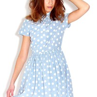 Denim Polkadot Skater Dress