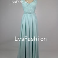 Floor Length Straps V-neck Sexy Chiffon Prom Dresses, Cocktail Dress Party Dress, Sexy Dress