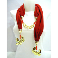 Red Scarf Women Accessory Jersey Scarf 2012 Spring by bytugce