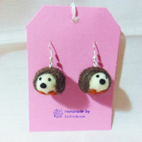 Needle felted hedgehog earrings - hedgehog earrings - felted earrings - needle felt hedgehog